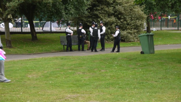 Police questioning youth Newham Stratford London 2012