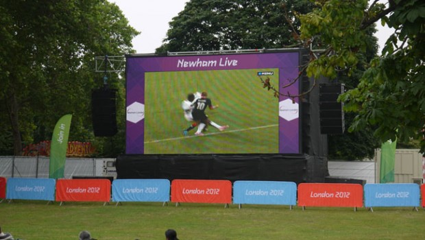 Big Screen Newham Stratford London 2012 Park