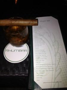 Rhumbar Rum Menu and cigar