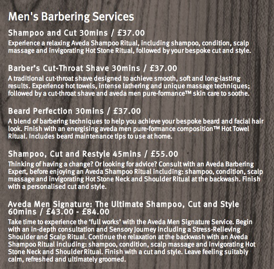 Aveda Men Grooming menu